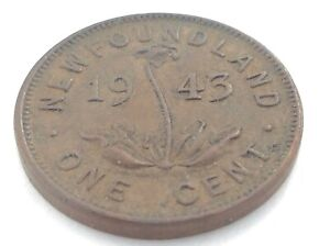 1943 NEWFOUNDLAND CANADA ONE 1 CENT PENNY CIRCULATED GEORGE VI COIN K988