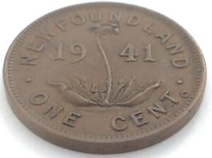 1941 NEWFOUNDLAND CANADA ONE 1 CENT PENNY CIRCULATED GEORGE VI COIN K990