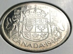 1946 CANADA FIFTY 50 CENT HALF DOLLAR CANADIAN GEORGE VI WHIZZED COIN K998
