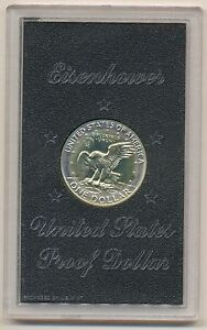 1974 S SILVER EISENHOWER IKE DOLLAR PROOF MINT HALO TONING IN BROWN BOX TONED