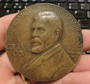 VINT 1855 1930 75TH ANNIVERSARY CHICAGO CRANE COMPANY BRONZE MEDAL PAPERWEIGHT