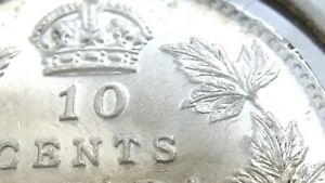 Click now to see the BUY IT NOW Price! 1912 BROAD LEAVES CANADA TEN 10 CENT SILVER DIME GEORGE VI WHIZZED COIN L042