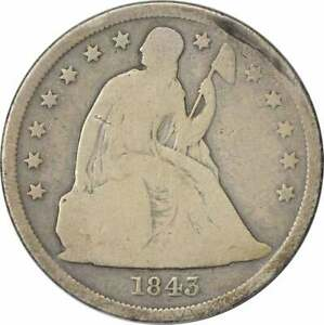 1843 LIBERTY SEATED SILVER DOLLAR AG UNCERTIFIED
