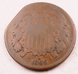 1865 TWO CENT PIECE  2 CENT  // CLIPPED ERROR //  TC119