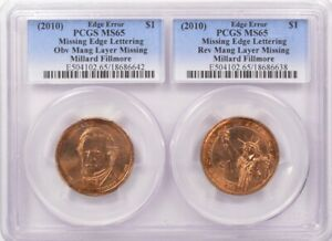 Click now to see the BUY IT NOW Price!  2 COINS  PCGS $1 2010 MILLARD FILLMORE 2 COIN MISSING CLAD LAYER SET MS65
