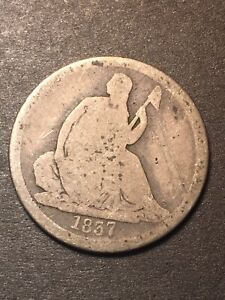 1837 SEATED LIBERTY DIME 10C NO STARS LARGE DATE