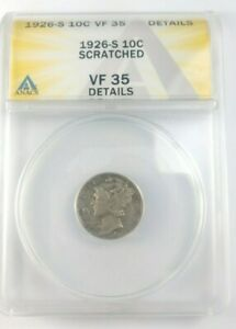 BETTER DATE 1926 S MERCURY DIME GRADED BY ANACS AS A VF 35 DETAILS SCRATCHED