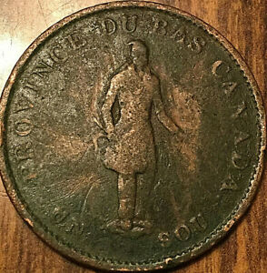 1837 LOWER CANADA HALFPENNY TOKEN   QUEBEC BANK ON RIBBON