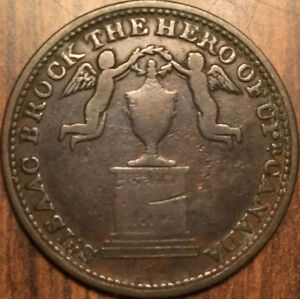 1816 UPPER CANADA HALF PENNY TOKEN SIR ISAAC BROCK MONUMENT BEAUTIFUL EXAMPLE