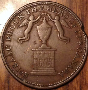 1816 UPPER CANADA HALF PENNY TOKEN SIR ISAAC BROCK MONUMENT IN HIGH GRADE
