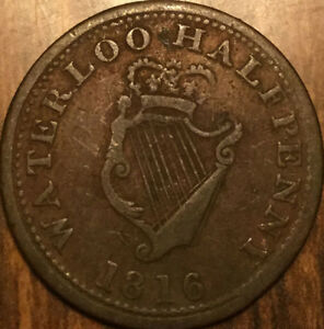 1816 LOWER CANADA WELLINGTON WATERLOO HALFPENNY TOKEN   BRETON 981