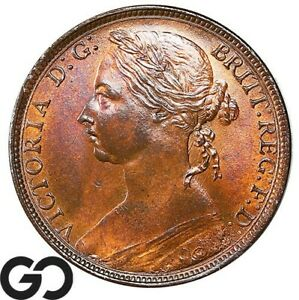 1891 FARTHING 1D QUEEN VICTORIA GREAT BRITAIN BRITISH PENNY