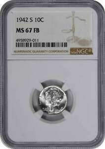 Click now to see the BUY IT NOW Price! 1942 S MERCURY DIME MS67FB NGC