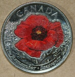 CANADA 2015 25 CENTS POPPY  FOREIGN COIN
