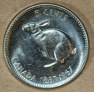 CANADA 1967 5 CENTS RABBIT FOREIGN COIN