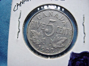 1922 CIRCULATED CANADIAN  FIVE CENT GEORGE V