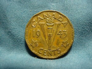 CANADA 1943  TOMBAC GEORGE VI CANADIAN VICTORY FIVE CENTS