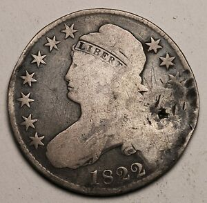 GENUINE FUR TRADE ERA SILVER US 1822 HALF DOLLAR