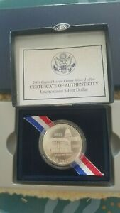 2001 SILVER DOLLAR P UNCIRCULATED CAPITOL VISITOR CENTER COMMEMORATIVE 90  COIN