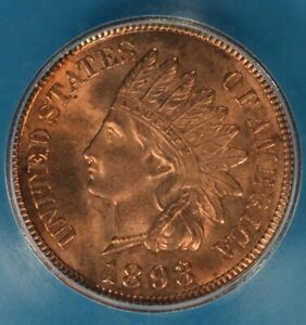 1893 INDIAN HEAD CENT ICG MS64RD  SHARP BRIGHT RED EXAMPLE