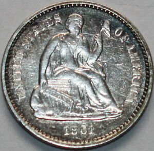 1861 P SEATED LIBERTY HALF DIME [SN01]