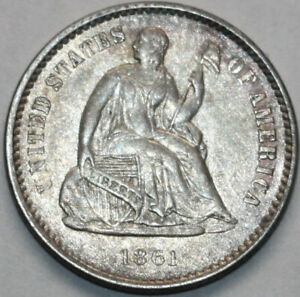 1861 P SEATED LIBERTY HALF DIME [SN02]