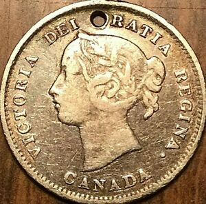 1899 CANADA SILVER 5 CENTS COIN   HOLED