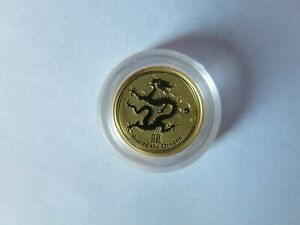 2012 1/20 OZ AUSTRALIA GOLD YEAR OF THE DRAGON $5 PROOF COIN   P MARK