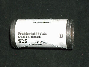 2015 D DENVER UNITED STATES MINT LYNDON B JOHNSON PRESIDENTIAL $1 COINS $25 ROLL