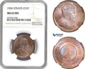 Click now to see the BUY IT NOW Price! AE396 STRAITS SETTLEMENTS EDWARD VII 1 CENT 1906 NGC MS63BN  UNDERGRADED  RR