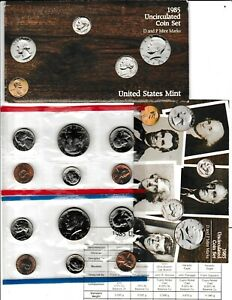 1985 U.S. UNCIRCULATED MINT SET IN OGP W/CARDBOARD PROTECTOR & INFO CARD