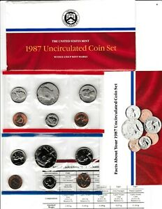 1987 U.S. UNCIRCULATED MINT SET IN OGP W/CARDBOARD PROTECTOR & INFO CARD