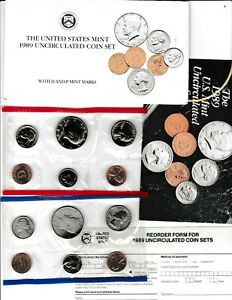 1989 U.S. UNCIRCULATED MINT SET IN OGP W/CARDBOARD PROTECTOR & RE ORDER CARD