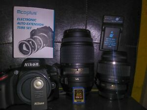 NIKON D3200 24.2MP DSLR W LENSES ACCES BATTERY SD CARD AND MORE
