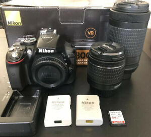 NIKON D5300 24.2MP DSLR CAMERA W/ 18 55MM & 70 300MM KIT LENS     EXTRAS