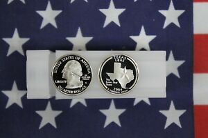 2004 S TEXAS SILVER PROOF STATE QUARTER ROLL   40 COINS