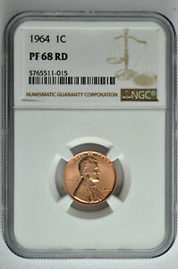 1964 PROOF 1C LINCOLN MEMORIAL CENT NGC PF 68 RD