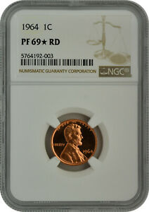 1964 1C PROOF LINCOLN MEMORIAL CENT NGC PF 69 RD STAR