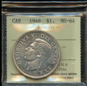 Click now to see the BUY IT NOW Price! 1948 CANADIAN SILVER DOLLAR   ICCS MS 64   AMAZING COIN