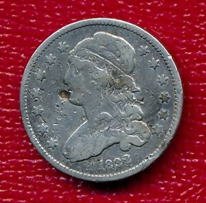 1832 CAPPED BUST SILVER QUARTER   NICELY CIRCULATED