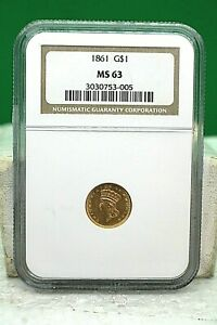 1861 UNITED STATES $1 GOLD COIN NGC MS63