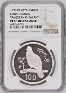 Click now to see the BUY IT NOW Price! 1976 PAKISTAN SILVER 100 RUPEES BIRD TRAGOPAN PHEASANT NGC PF66 LOW MINTAGE