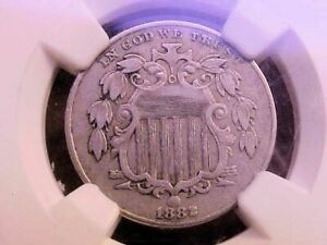 1882 SHIELD NICKEL NGC GRADED XF DETAILS OBV. IMPROPERLY CLEANED