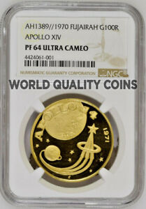 Click now to see the BUY IT NOW Price! FUJAIRAH UAE 1389/1970 GOLD 100 RIYALS APOLLO XIV SPACE NGC PF64 MINTAGE 550