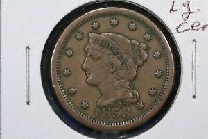Click now to see the BUY IT NOW Price! 1853 BRAIDED HAIR LARGE CENT FINE