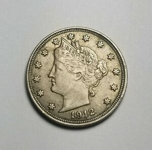 1912 LIBERTY V NICKEL XF/AU WITH LUSTER