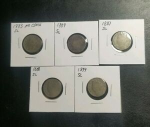 5 BETTER DATE LIBERTY V NICKELS 1883 NO CENTS 1884 1887 1888 1894