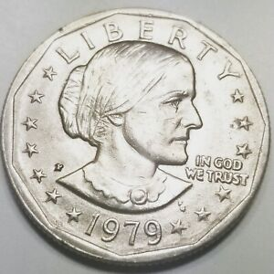 COLLECTIBLE  MINT ERROR WIDE RIM 1979 P SUSAN B ANTHONY BLOB INITIALS COIN