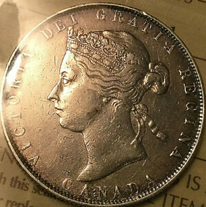 1881H CANADA SILVER VICTORIA 50 CENTS COIN   ICCS VF 30   CLEANED