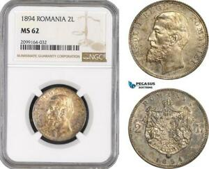 Click now to see the BUY IT NOW Price! AE561 ROMANIA CAROL I 2 LEI 1894 BRUSSELS SILVER NGC MS62